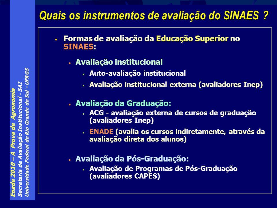 Enade 2010 – A Prova de Agronomia Secretaria de Avaliação Institucional - SAI Universidade Federal do Rio Grande do Sul - UFRGS Formas de avaliação da