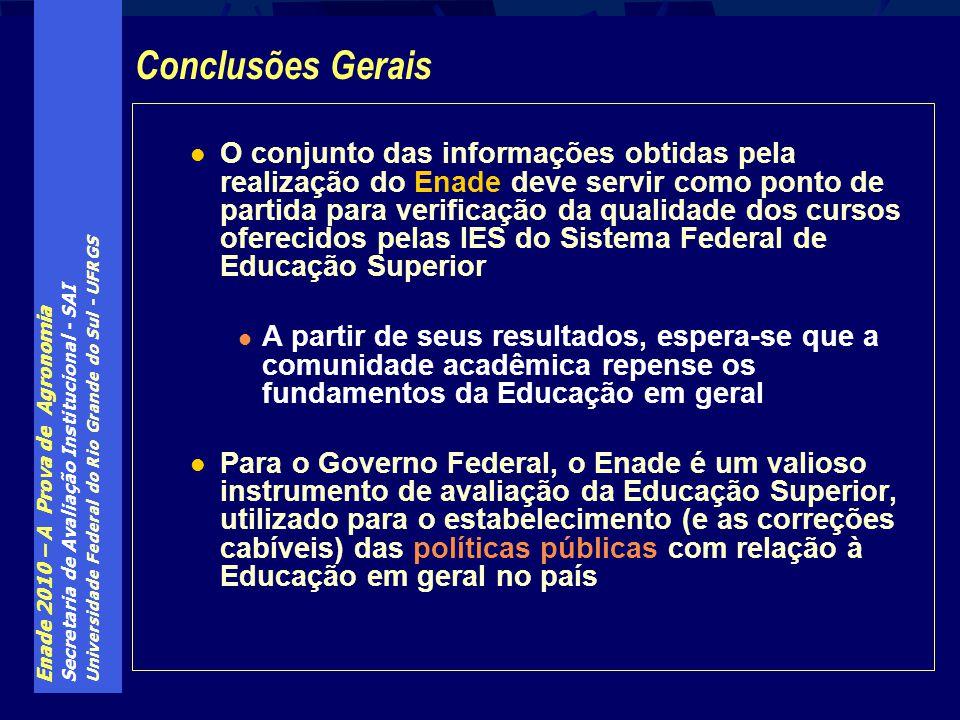 Enade 2010 – A Prova de Agronomia Secretaria de Avaliação Institucional - SAI Universidade Federal do Rio Grande do Sul - UFRGS O conjunto das informa