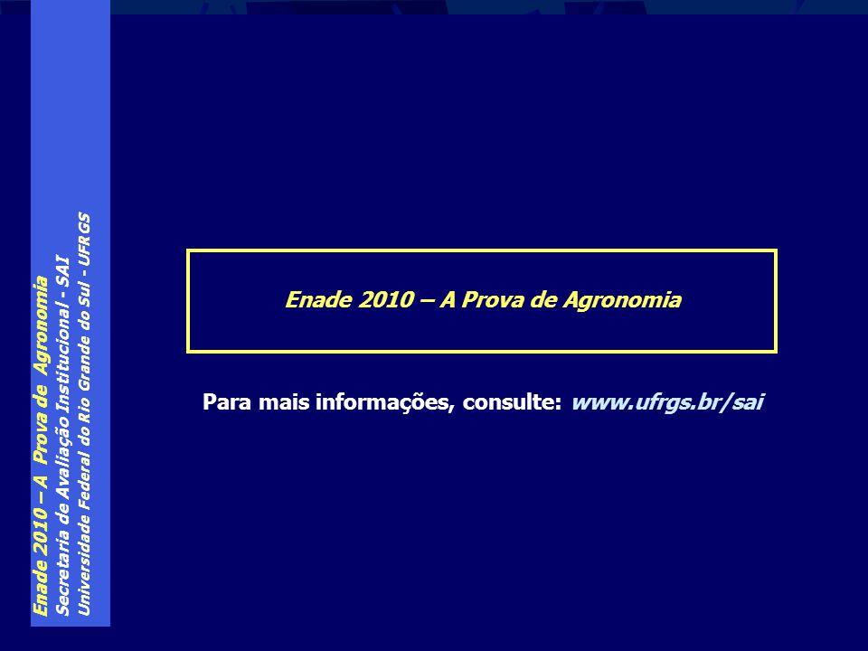 Enade 2010 – A Prova de Agronomia Secretaria de Avaliação Institucional - SAI Universidade Federal do Rio Grande do Sul - UFRGS Enade 2010 – A Prova d