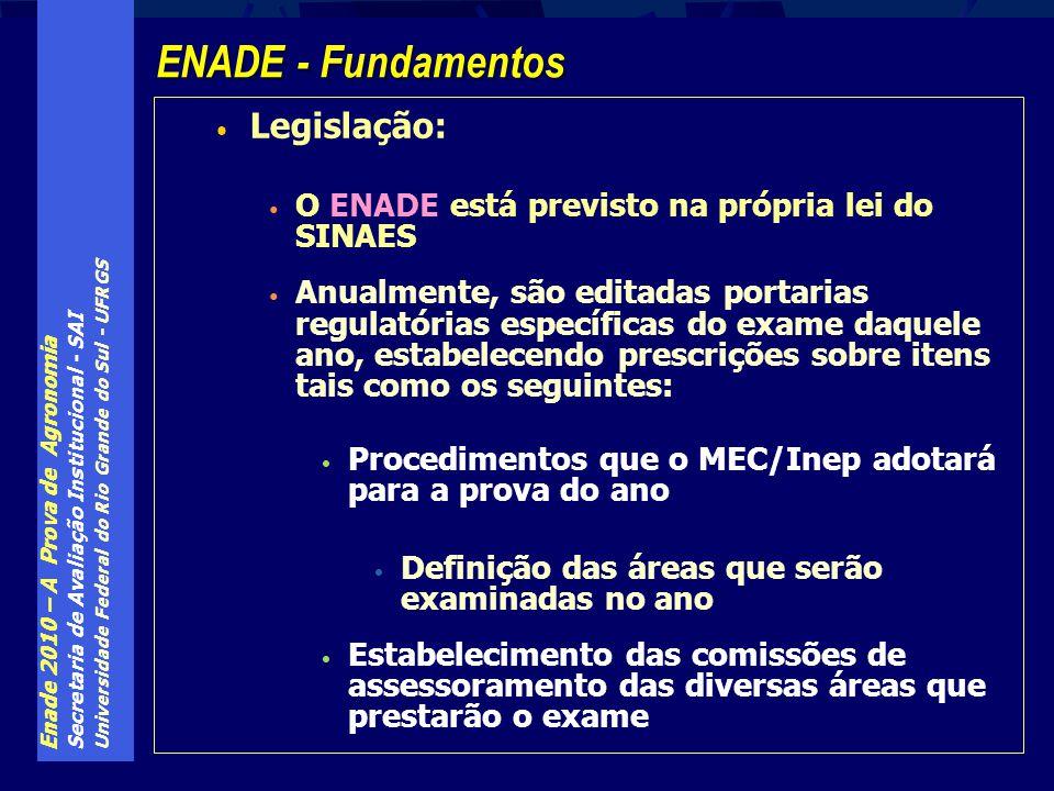 Enade 2010 – A Prova de Agronomia Secretaria de Avaliação Institucional - SAI Universidade Federal do Rio Grande do Sul - UFRGS Todas as provas, de todas as áreas, têm as mesmas 10 questões de Formação Geral (FG), com mesmo peso relativo sobre a nota final de estudantes e cursos de todas as áreas O componente específico (CE) compõe as últimas 30 questões da prova de cada área, e sua configuração é deliberada pela comissão de assessoramento de cada área, dentro de regras pré-estabelecidas pelo Inep Por exemplo, o número de questões discursivas ou o seu peso relativo sobre a nota do CE é pré-estabelecido pelo Inep Enade - A estrutura das diversas provas