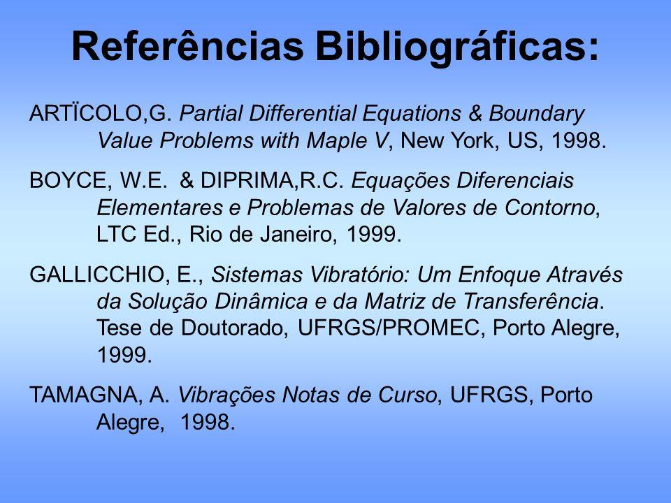 ARTÏCOLO,G. Partial Differential Equations & Boundary Value Problems with Maple V, New York, US, 1998. BOYCE, W.E. & DIPRIMA,R.C. Equações Diferenciai