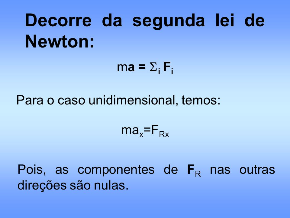 Decorre da segunda lei de Newton: ma = i F i Para o caso unidimensional, temos: ma x =F Rx Pois, as componentes de F R nas outras direções são nulas.