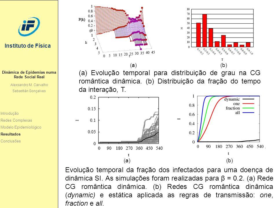 Instituto de Física (a) (b) Evolução temporal da fração dos infectados para uma doença de dinâmica SI. As simulações foram realizadas para β = 0.2. (a