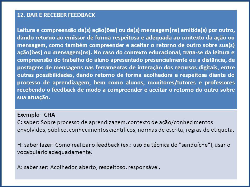 12. DAR E RECEBER FEEDBACK Leitura e compreensão da(s) ação(ões) ou da(s) mensagem(ns) emitida(s) por outro, dando retorno ao emissor de forma respeit