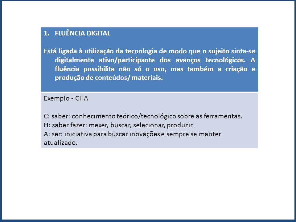 1.FLUÊNCIA DIGITAL Está ligada à utilização da tecnologia de modo que o sujeito sinta-se digitalmente ativo/participante dos avanços tecnológicos. A f