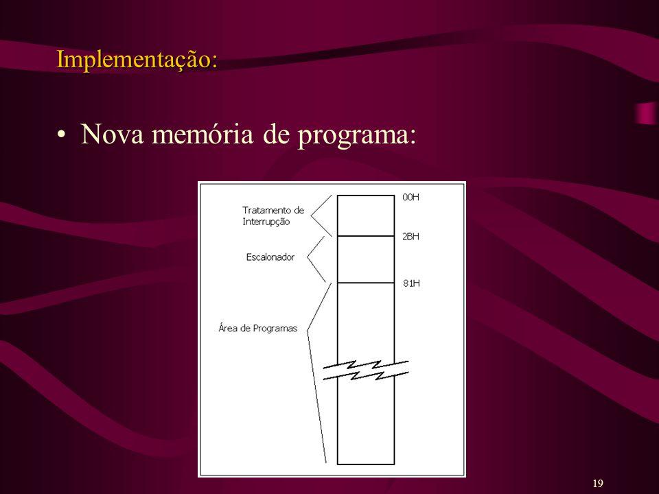Implementação: Nova memória de programa: 19