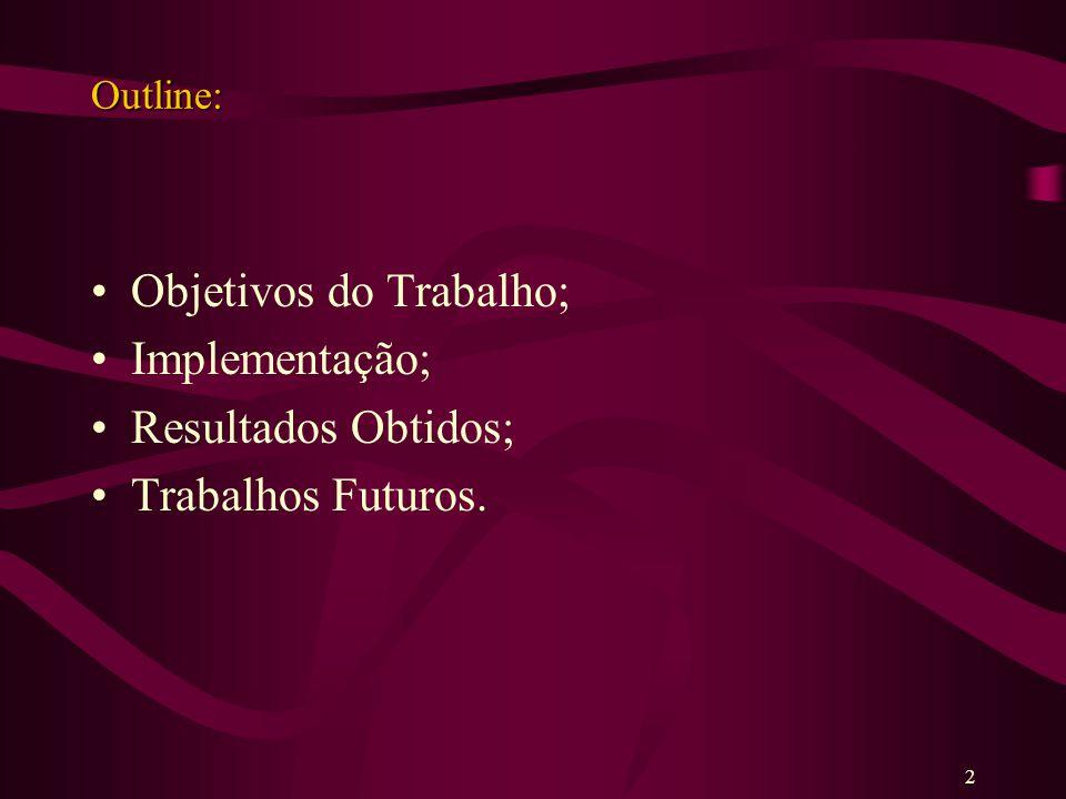 Outline: Objetivos do Trabalho; Implementação; Resultados Obtidos; Trabalhos Futuros. 2