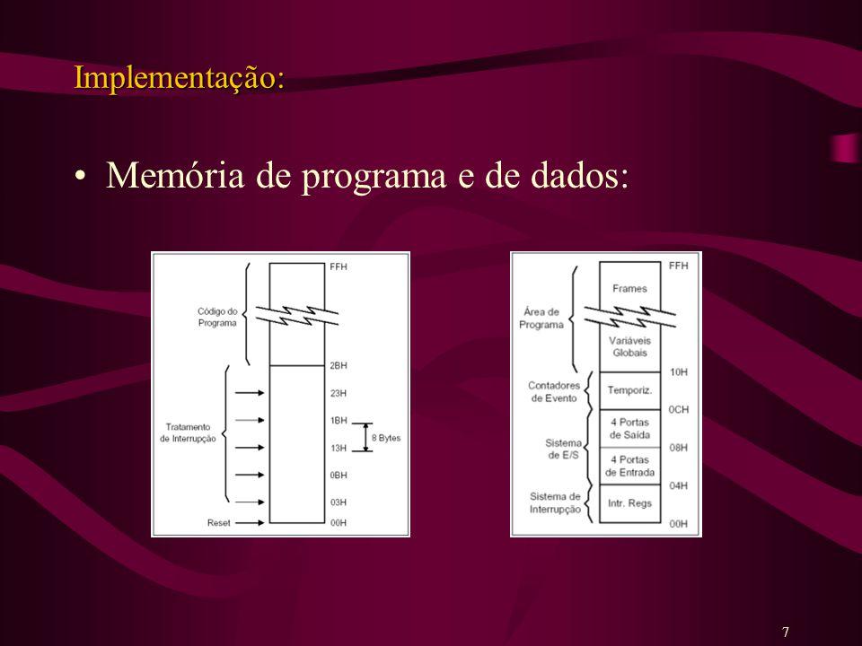 Implementação: Memória de programa e de dados: 7