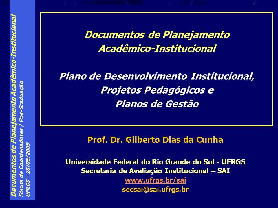 Documentos de Planejamento Acadêmico-Institucional Fórum de Coordenadores / Pós-Graduação UFRGS – 18/08/2009 Parte IV A relação entre os Instrumentos de Planejamento Institucional e o Credenciamento legal das Instituições de Educação Superior