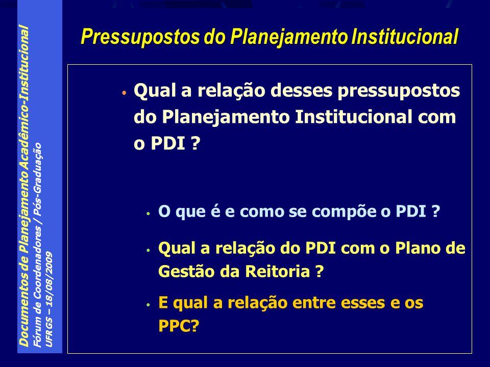 Documentos de Planejamento Acadêmico-Institucional Fórum de Coordenadores / Pós-Graduação UFRGS – 18/08/2009 Qual a relação desses pressupostos do Planejamento Institucional com o PDI .