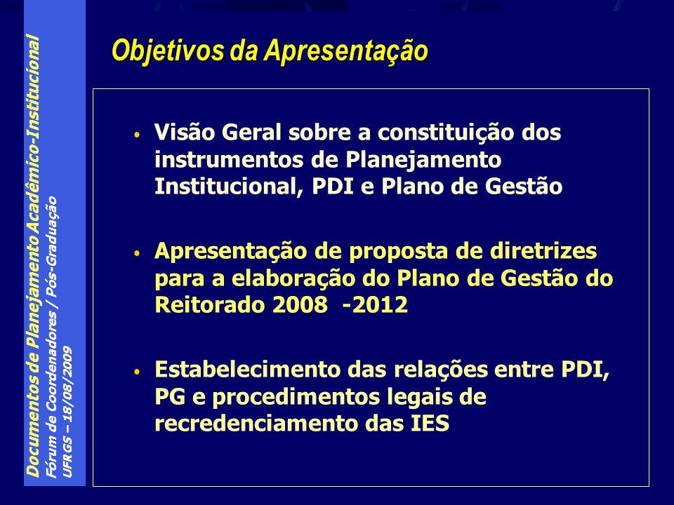 Documentos de Planejamento Acadêmico-Institucional Fórum de Coordenadores / Pós-Graduação UFRGS – 18/08/2009 Visão Geral sobre a constituição dos instrumentos de Planejamento Institucional, PDI e Plano de Gestão Apresentação de proposta de diretrizes para a elaboração do Plano de Gestão do Reitorado 2008 -2012 Estabelecimento das relações entre PDI, PG e procedimentos legais de recredenciamento das IES Objetivos da Apresentação