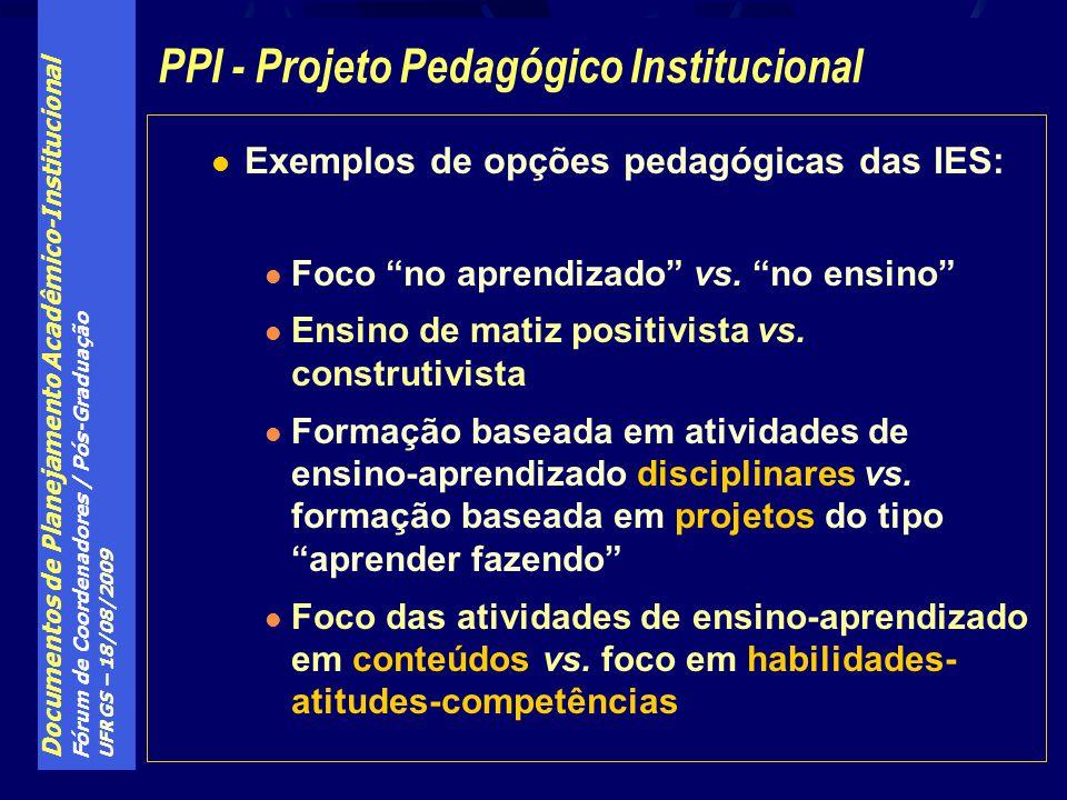 Documentos de Planejamento Acadêmico-Institucional Fórum de Coordenadores / Pós-Graduação UFRGS – 18/08/2009 Exemplos de opções pedagógicas das IES: Foco no aprendizado vs.