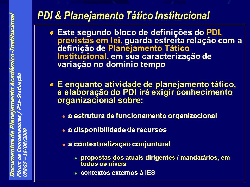 Documentos de Planejamento Acadêmico-Institucional Fórum de Coordenadores / Pós-Graduação UFRGS – 18/08/2009 Este segundo bloco de definições do PDI, previstas em lei, guarda estreita relação com a definição de Planejamento Tático Institucional, em sua caracterização de variação no domínio tempo E enquanto atividade de planejamento tático, a elaboração do PDI irá exigir conhecimento organizacional sobre: a estrutura de funcionamento organizacional a disponibilidade de recursos a contextualização conjuntural propostas dos atuais dirigentes / mandatários, em todos os níveis contextos externos à IES PDI & Planejamento Tático Institucional