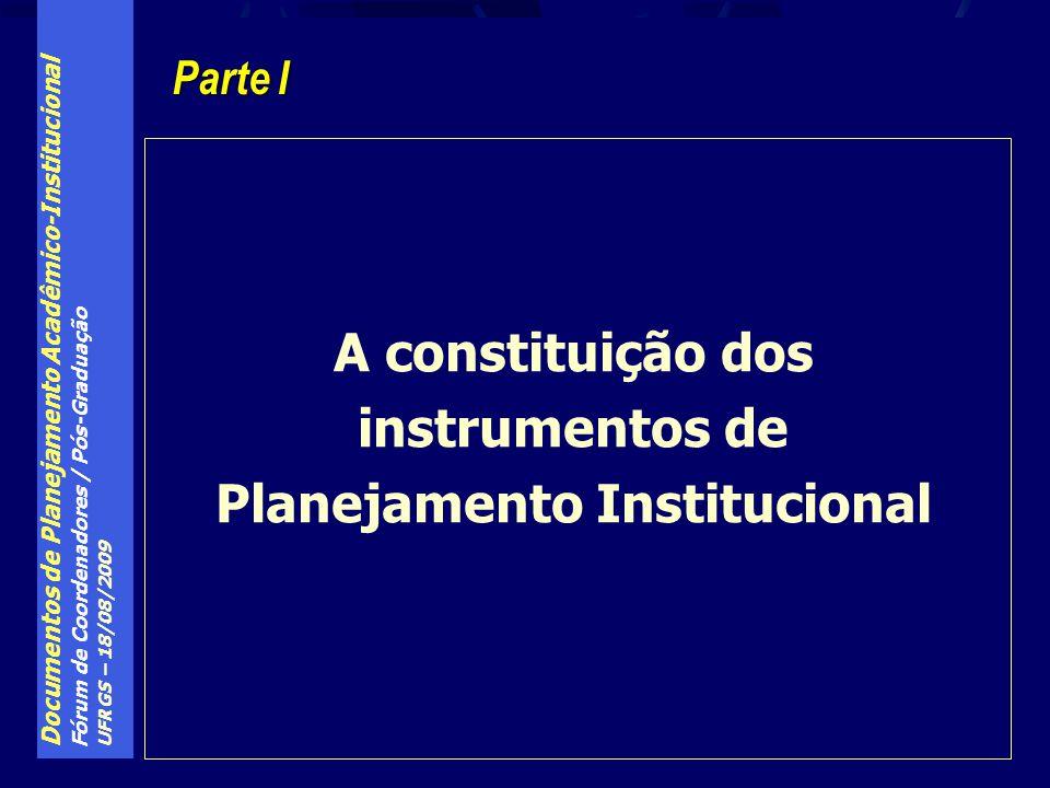 Documentos de Planejamento Acadêmico-Institucional Fórum de Coordenadores / Pós-Graduação UFRGS – 18/08/2009 Planejamento Institucional: PDI, PPI e PGR Planejamento Estratégico Planejamento Tático Planejamento Operacional PDI (princípios fundamentais) PPI Plano de Gestão (princípios) Administração Central Planos de Ações Demais Órgãos AD Comunidade Universitária PDI (estrutura e organização da IES) AtemporalidadeTemporalidade