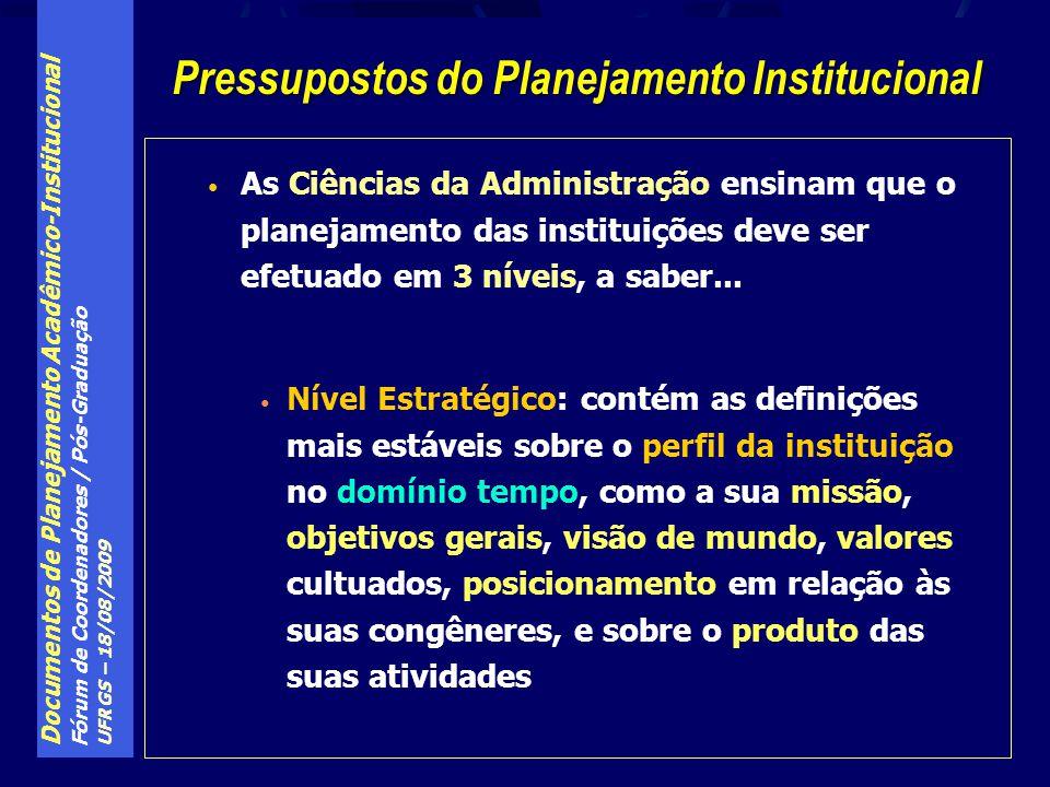 Documentos de Planejamento Acadêmico-Institucional Fórum de Coordenadores / Pós-Graduação UFRGS – 18/08/2009 (Lei Fed.