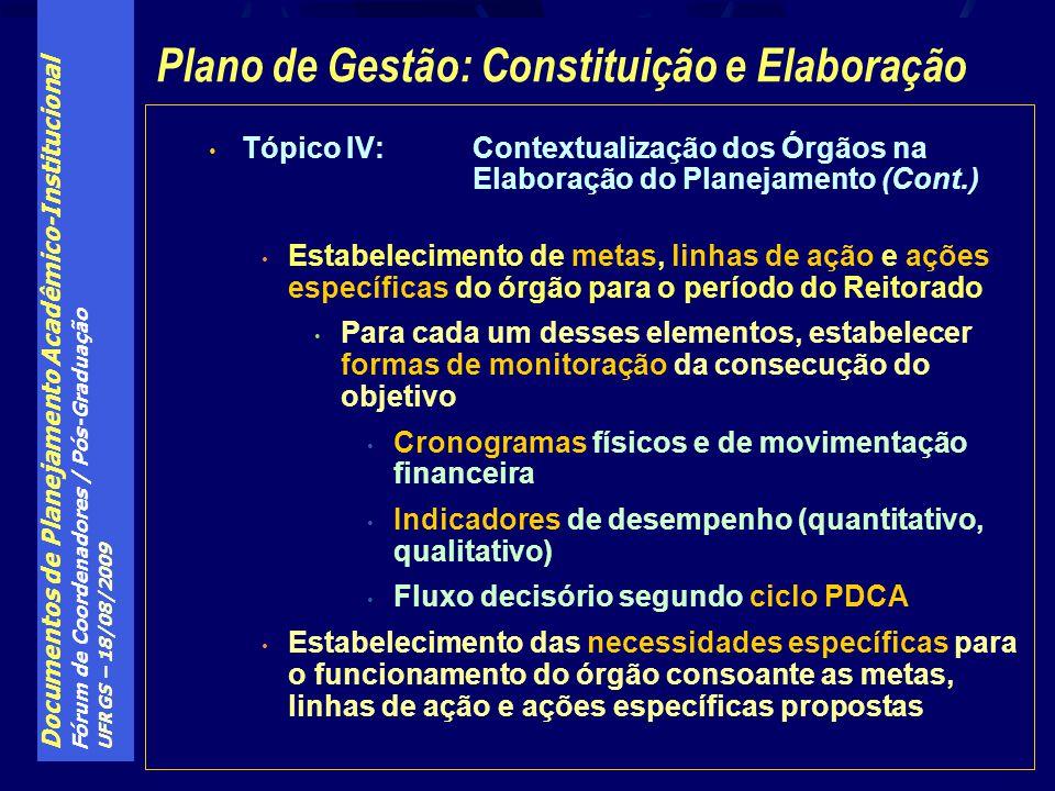Documentos de Planejamento Acadêmico-Institucional Fórum de Coordenadores / Pós-Graduação UFRGS – 18/08/2009 Tópico IV:Contextualização dos Órgãos na Elaboração do Planejamento (Cont.) Estabelecimento de metas, linhas de ação e ações específicas do órgão para o período do Reitorado Para cada um desses elementos, estabelecer formas de monitoração da consecução do objetivo Cronogramas físicos e de movimentação financeira Indicadores de desempenho (quantitativo, qualitativo) Fluxo decisório segundo ciclo PDCA Estabelecimento das necessidades específicas para o funcionamento do órgão consoante as metas, linhas de ação e ações específicas propostas Plano de Gestão: Constituição e Elaboração