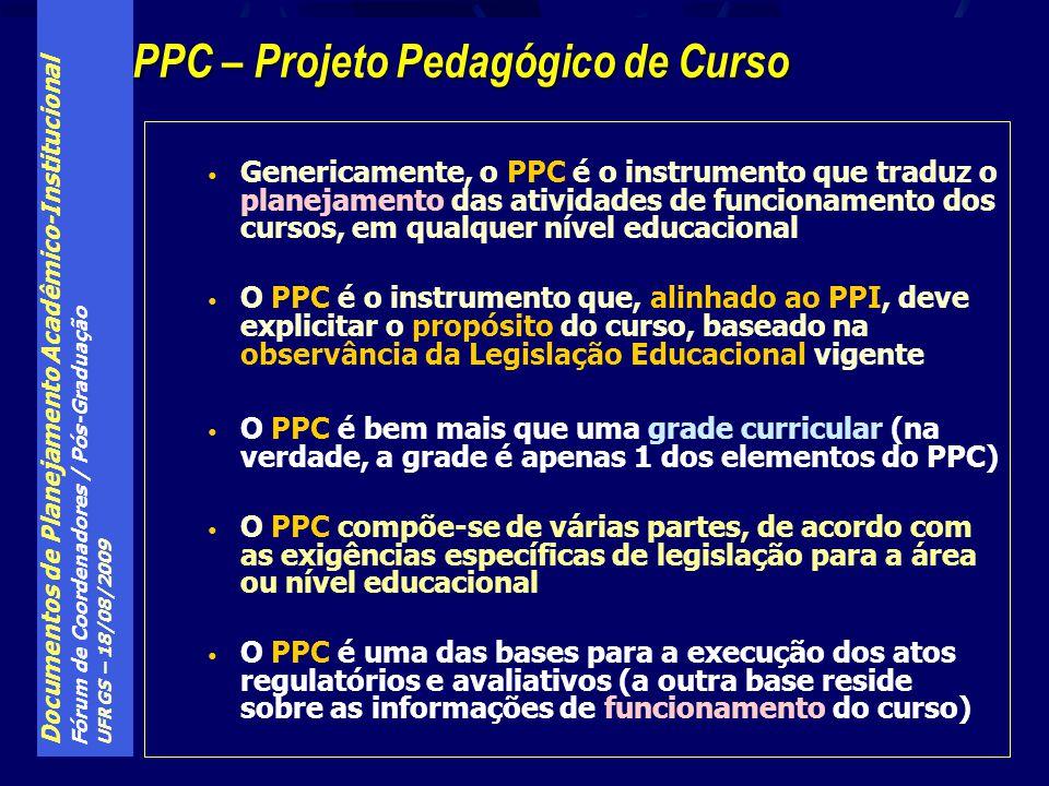 Documentos de Planejamento Acadêmico-Institucional Fórum de Coordenadores / Pós-Graduação UFRGS – 18/08/2009 Genericamente, o PPC é o instrumento que traduz o planejamento das atividades de funcionamento dos cursos, em qualquer nível educacional O PPC é o instrumento que, alinhado ao PPI, deve explicitar o propósito do curso, baseado na observância da Legislação Educacional vigente O PPC é bem mais que uma grade curricular (na verdade, a grade é apenas 1 dos elementos do PPC) O PPC compõe-se de várias partes, de acordo com as exigências específicas de legislação para a área ou nível educacional O PPC é uma das bases para a execução dos atos regulatórios e avaliativos (a outra base reside sobre as informações de funcionamento do curso) PPC – Projeto Pedagógico de Curso