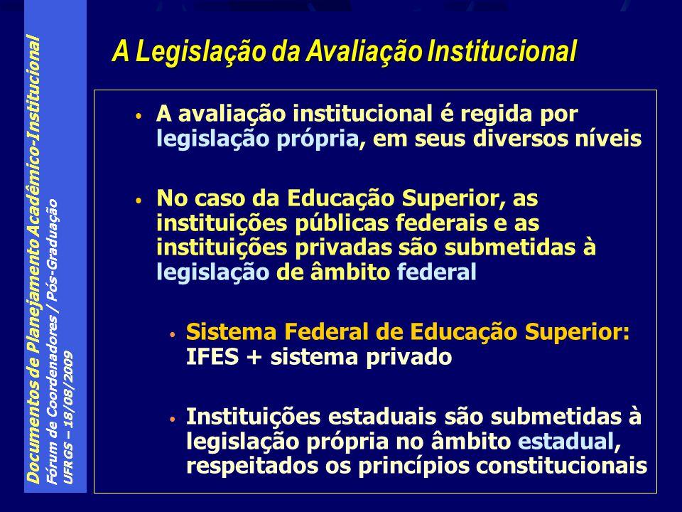 Documentos de Planejamento Acadêmico-Institucional Fórum de Coordenadores / Pós-Graduação UFRGS – 18/08/2009 A avaliação institucional é regida por legislação própria, em seus diversos níveis No caso da Educação Superior, as instituições públicas federais e as instituições privadas são submetidas à legislação de âmbito federal Sistema Federal de Educação Superior: IFES + sistema privado Instituições estaduais são submetidas à legislação própria no âmbito estadual, respeitados os princípios constitucionais A Legislação da Avaliação Institucional