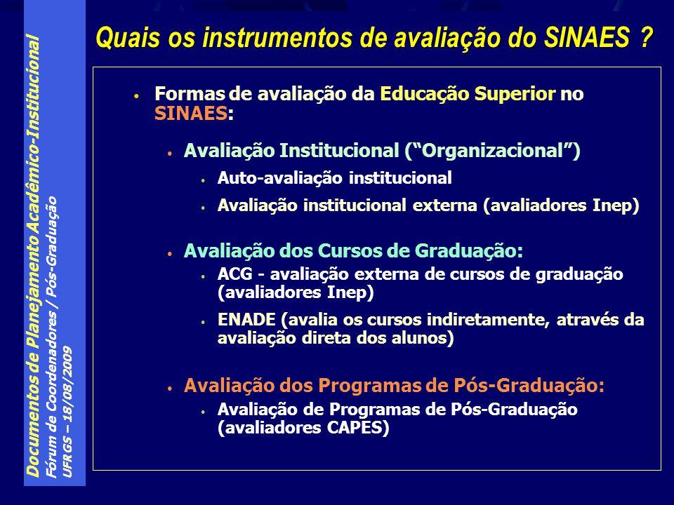 Documentos de Planejamento Acadêmico-Institucional Fórum de Coordenadores / Pós-Graduação UFRGS – 18/08/2009 Formas de avaliação da Educação Superior no SINAES: Avaliação Institucional (Organizacional) Auto-avaliação institucional Avaliação institucional externa (avaliadores Inep) Avaliação dos Cursos de Graduação: ACG - avaliação externa de cursos de graduação (avaliadores Inep) ENADE (avalia os cursos indiretamente, através da avaliação direta dos alunos) Avaliação dos Programas de Pós-Graduação: Avaliação de Programas de Pós-Graduação (avaliadores CAPES) Quais os instrumentos de avaliação do SINAES ?