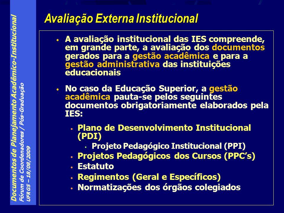 Documentos de Planejamento Acadêmico-Institucional Fórum de Coordenadores / Pós-Graduação UFRGS – 18/08/2009 A avaliação institucional das IES compreende, em grande parte, a avaliação dos documentos gerados para a gestão acadêmica e para a gestão administrativa das instituições educacionais No caso da Educação Superior, a gestão acadêmica pauta-se pelos seguintes documentos obrigatoriamente elaborados pela IES: Plano de Desenvolvimento Institucional (PDI) Projeto Pedagógico Institucional (PPI) Projetos Pedagógicos dos Cursos (PPCs) Estatuto Regimentos (Geral e Específicos) Normatizações dos órgãos colegiados Avaliação Externa Institucional