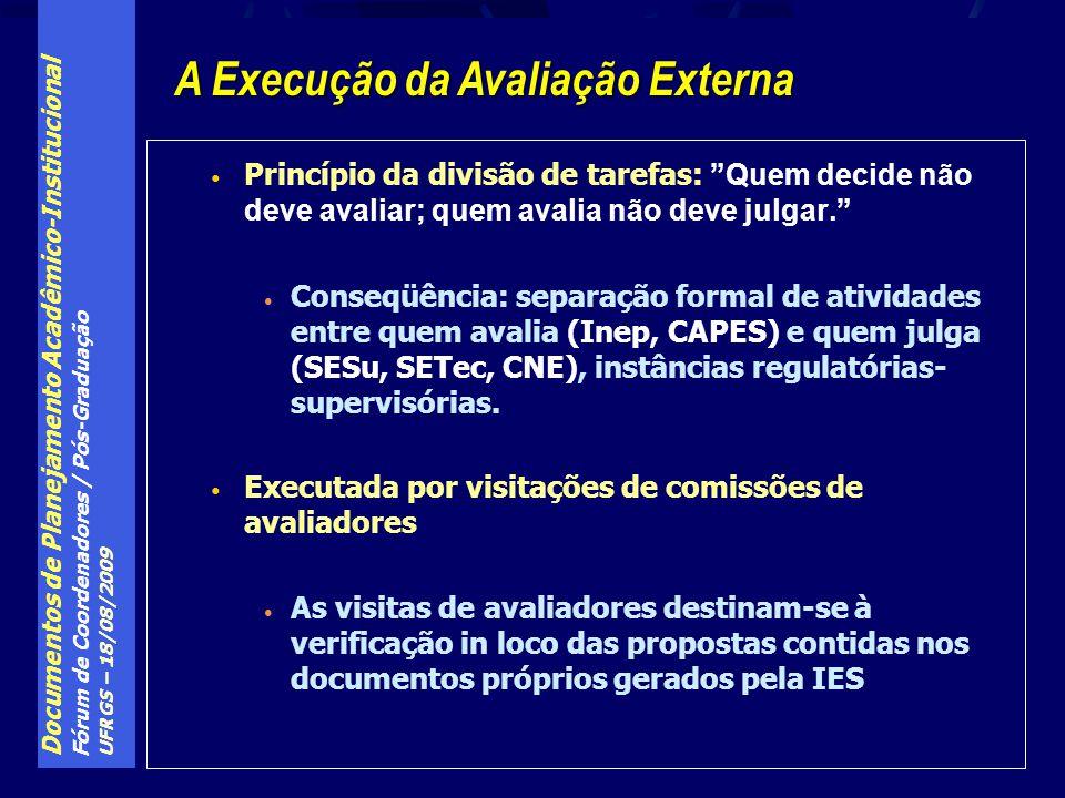 Documentos de Planejamento Acadêmico-Institucional Fórum de Coordenadores / Pós-Graduação UFRGS – 18/08/2009 Princípio da divisão de tarefas: Quem decide não deve avaliar; quem avalia não deve julgar.