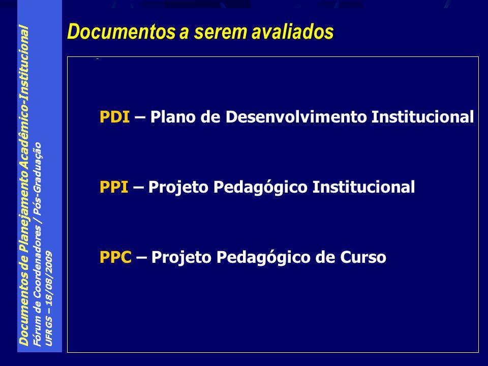 Documentos de Planejamento Acadêmico-Institucional Fórum de Coordenadores / Pós-Graduação UFRGS – 18/08/2009 PDI Documentos a serem avaliados PDI – Plano de Desenvolvimento Institucional PPI – Projeto Pedagógico Institucional PPC – Projeto Pedagógico de Curso