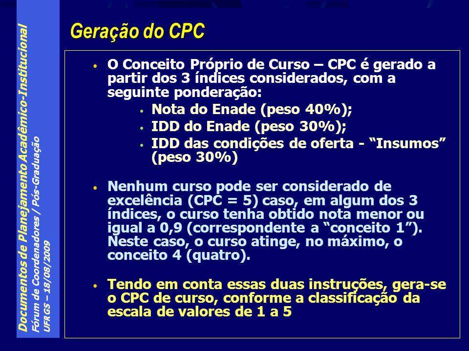 Documentos de Planejamento Acadêmico-Institucional Fórum de Coordenadores / Pós-Graduação UFRGS – 18/08/2009 O Conceito Próprio de Curso – CPC é gerado a partir dos 3 índices considerados, com a seguinte ponderação: Nota do Enade (peso 40%); IDD do Enade (peso 30%); IDD das condições de oferta - Insumos (peso 30%) Nenhum curso pode ser considerado de excelência (CPC = 5) caso, em algum dos 3 índices, o curso tenha obtido nota menor ou igual a 0,9 (correspondente a conceito 1).