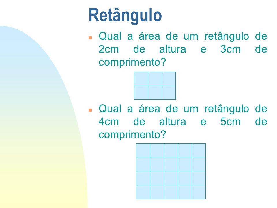 Retângulo n Qual a área de um retângulo de 2cm de altura e 3cm de comprimento? n Qual a área de um retângulo de 4cm de altura e 5cm de comprimento?