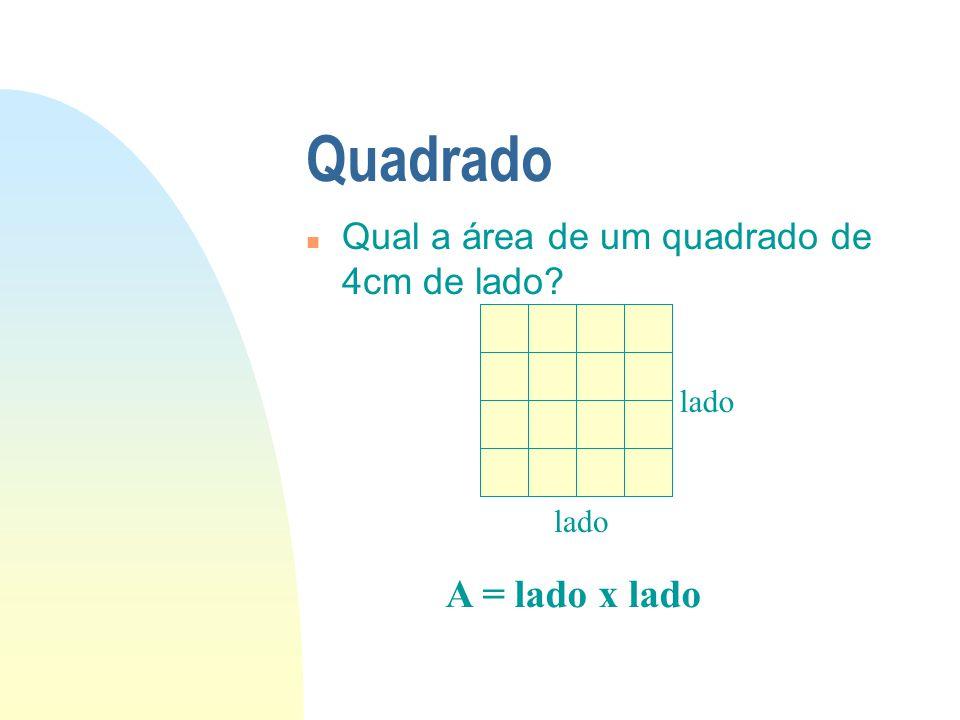 Quadrado n Qual a área de um quadrado de 4cm de lado? A = lado x lado lado