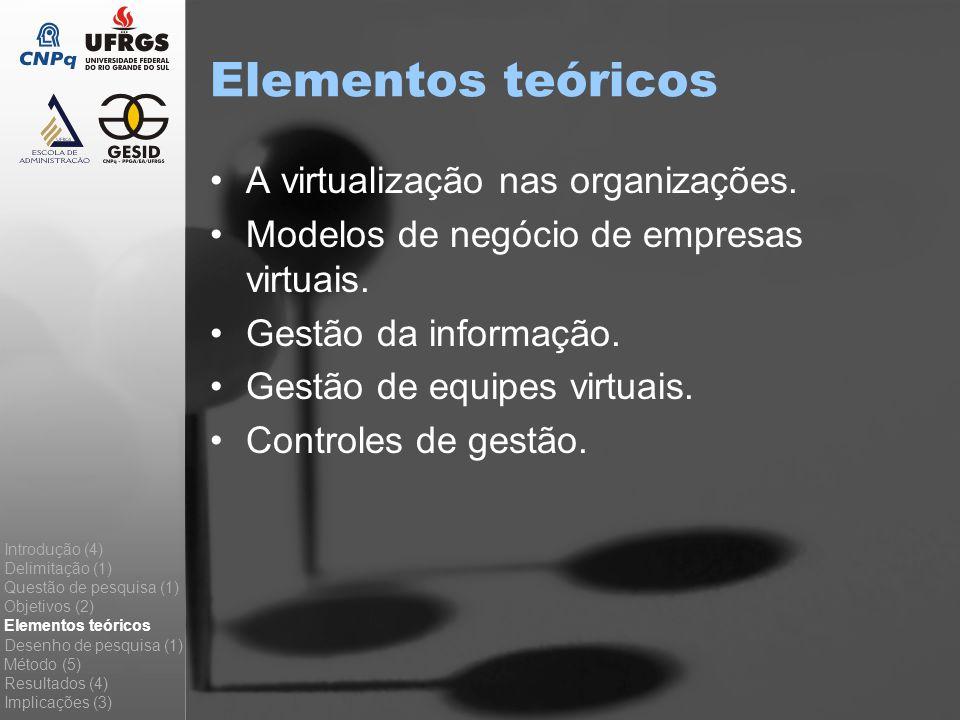 Elementos teóricos A virtualização nas organizações. Modelos de negócio de empresas virtuais. Gestão da informação. Gestão de equipes virtuais. Contro