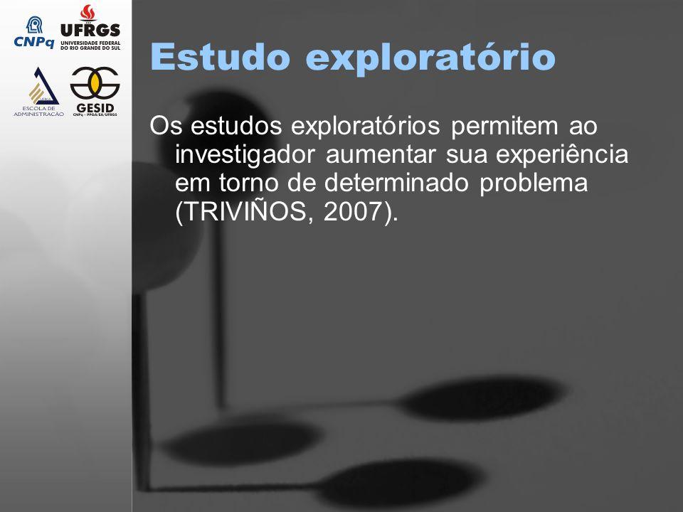 Estudo exploratório Os estudos exploratórios permitem ao investigador aumentar sua experiência em torno de determinado problema (TRIVIÑOS, 2007).