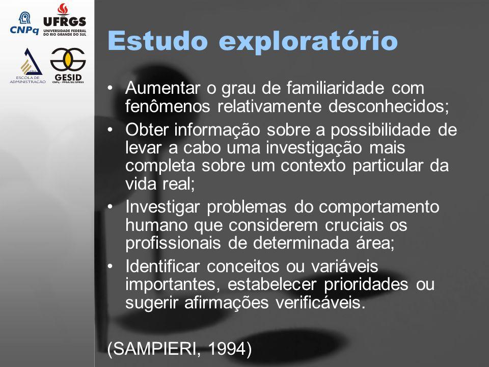 Estudo exploratório Aumentar o grau de familiaridade com fenômenos relativamente desconhecidos; Obter informação sobre a possibilidade de levar a cabo