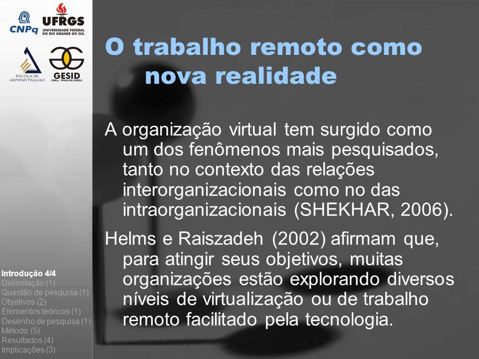 A organização virtual tem surgido como um dos fenômenos mais pesquisados, tanto no contexto das relações interorganizacionais como no das intraorganiz