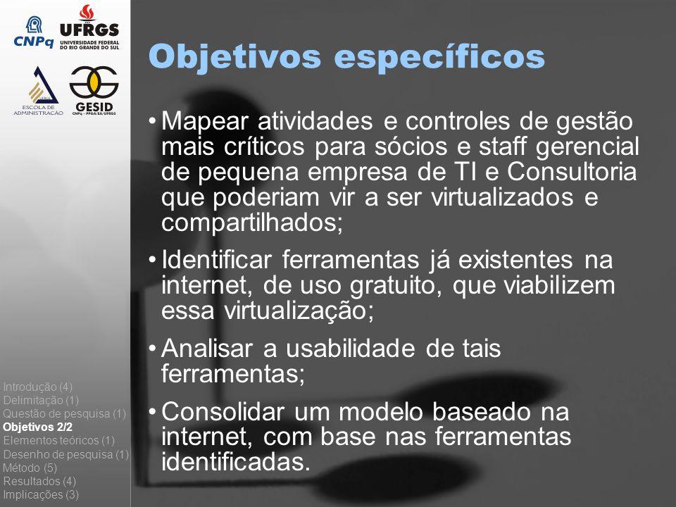 Objetivos específicos Mapear atividades e controles de gestão mais críticos para sócios e staff gerencial de pequena empresa de TI e Consultoria que p