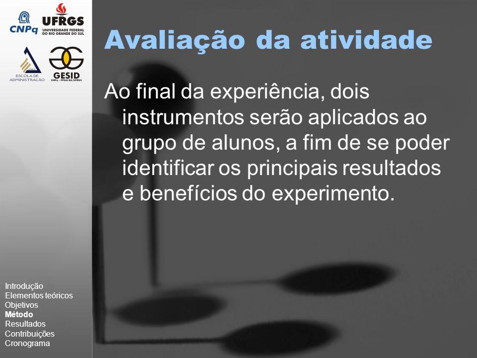 Avaliação da atividade Ao final da experiência, dois instrumentos serão aplicados ao grupo de alunos, a fim de se poder identificar os principais resultados e benefícios do experimento.