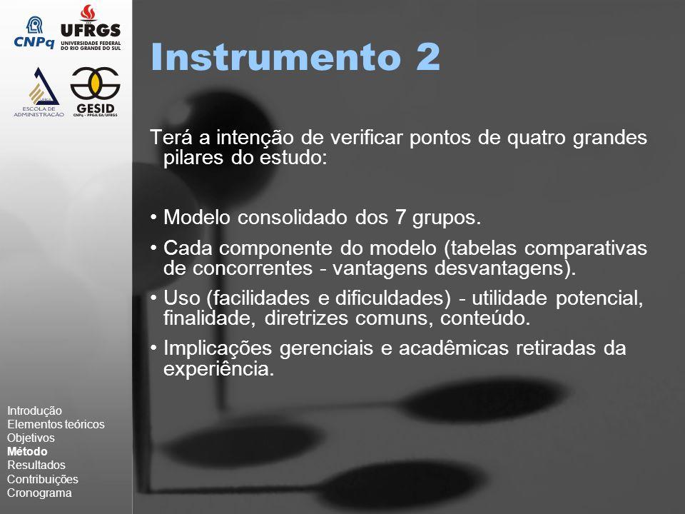 Instrumento 2 Terá a intenção de verificar pontos de quatro grandes pilares do estudo: Modelo consolidado dos 7 grupos.