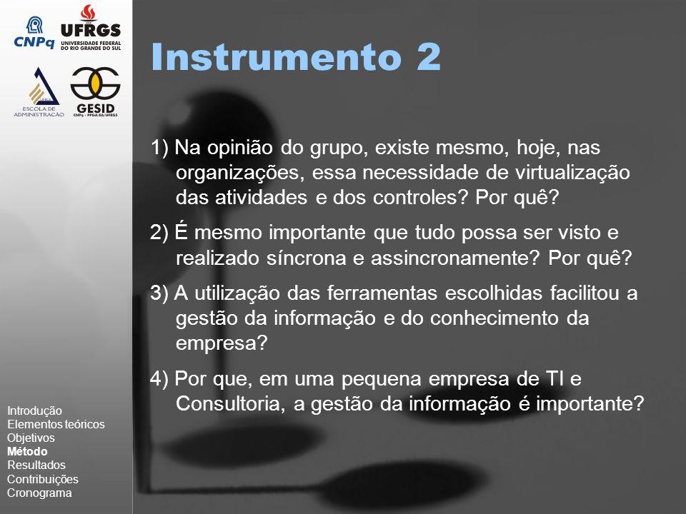 Instrumento 2 1) Na opinião do grupo, existe mesmo, hoje, nas organizações, essa necessidade de virtualização das atividades e dos controles.
