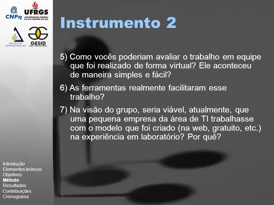 Instrumento 2 5) Como vocês poderiam avaliar o trabalho em equipe que foi realizado de forma virtual.