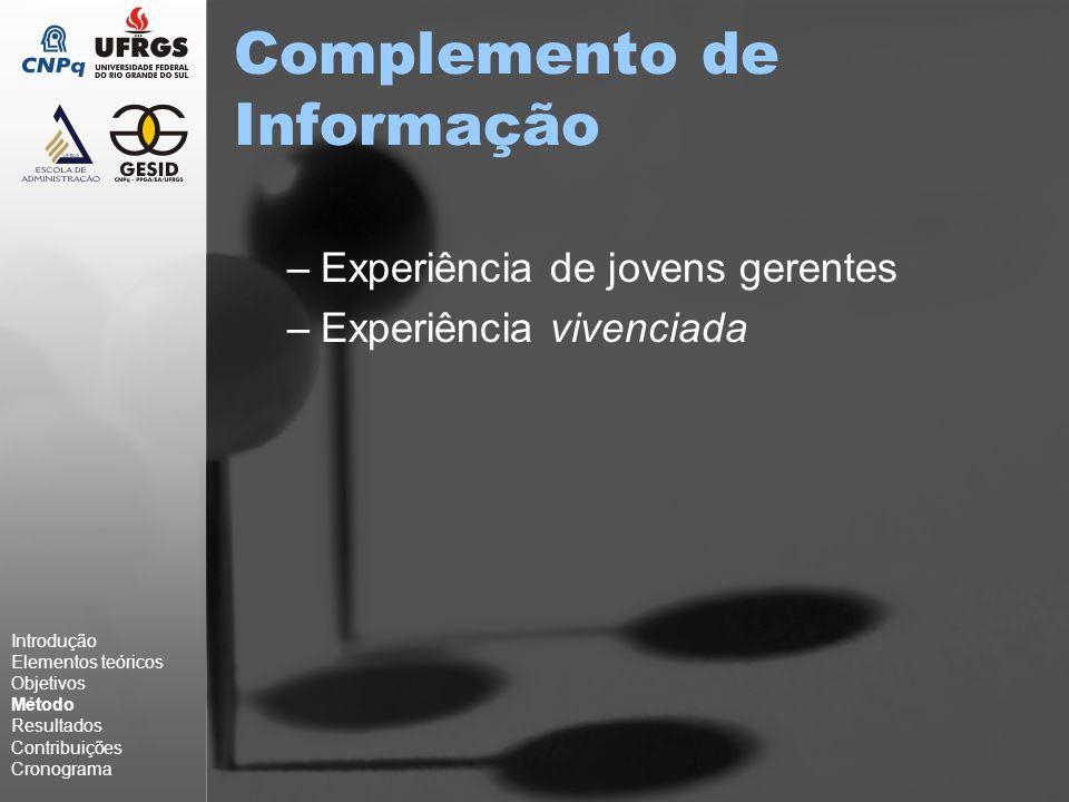 Complemento de Informação –Experiência de jovens gerentes –Experiência vivenciada Introdução Elementos teóricos Objetivos Método Resultados Contribuições Cronograma