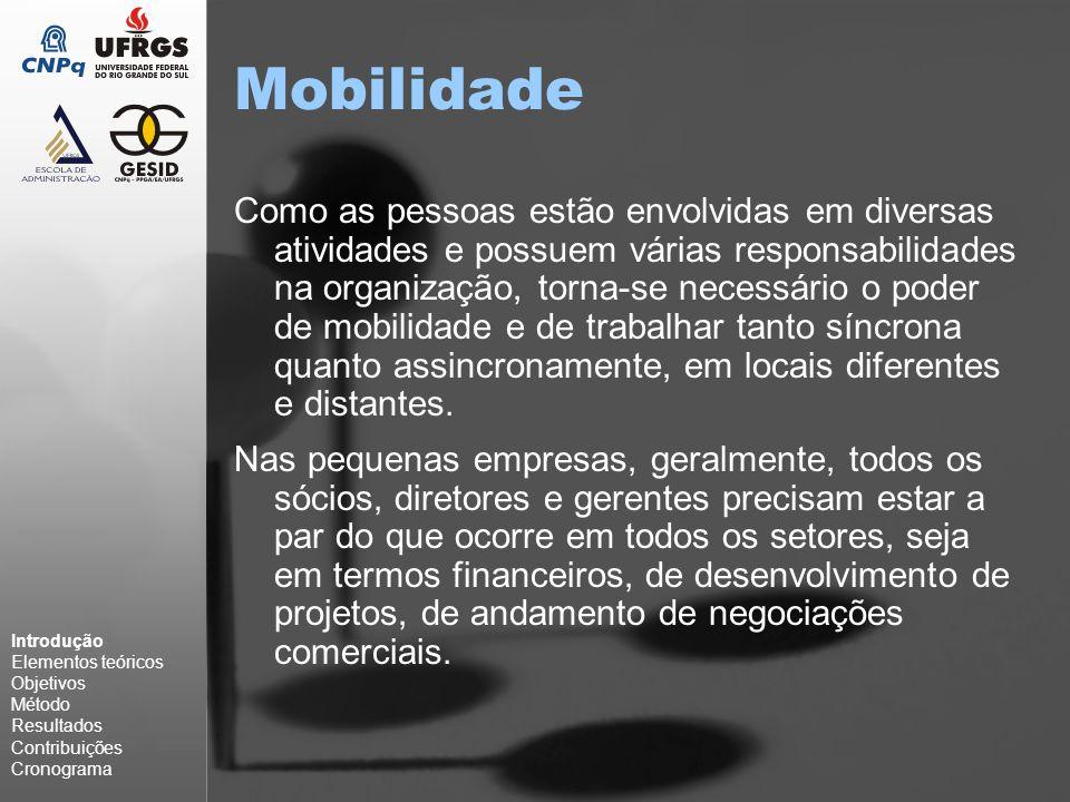 Mobilidade Como as pessoas estão envolvidas em diversas atividades e possuem várias responsabilidades na organização, torna-se necessário o poder de mobilidade e de trabalhar tanto síncrona quanto assincronamente, em locais diferentes e distantes.