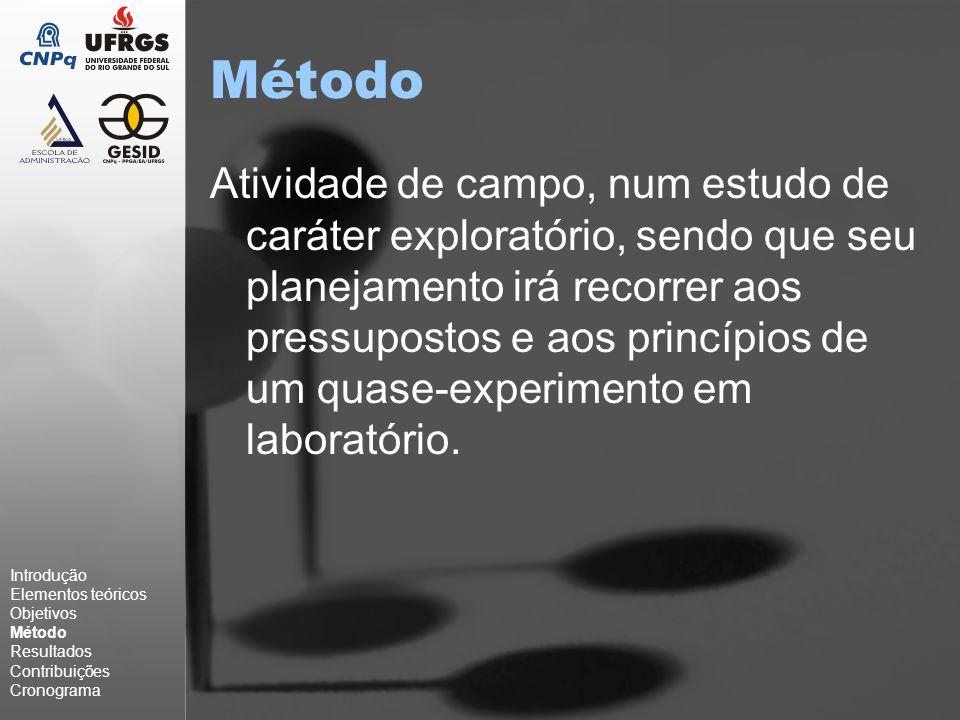Método Atividade de campo, num estudo de caráter exploratório, sendo que seu planejamento irá recorrer aos pressupostos e aos princípios de um quase-experimento em laboratório.