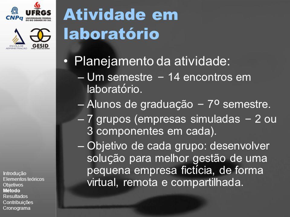 Atividade em laboratório Planejamento da atividade: –Um semestre – 14 encontros em laborat ó rio.