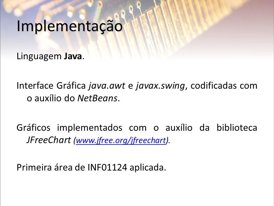 Implementação Linguagem Java. Interface Gráfica java.awt e javax.swing, codificadas com o auxílio do NetBeans. Gráficos implementados com o auxílio da