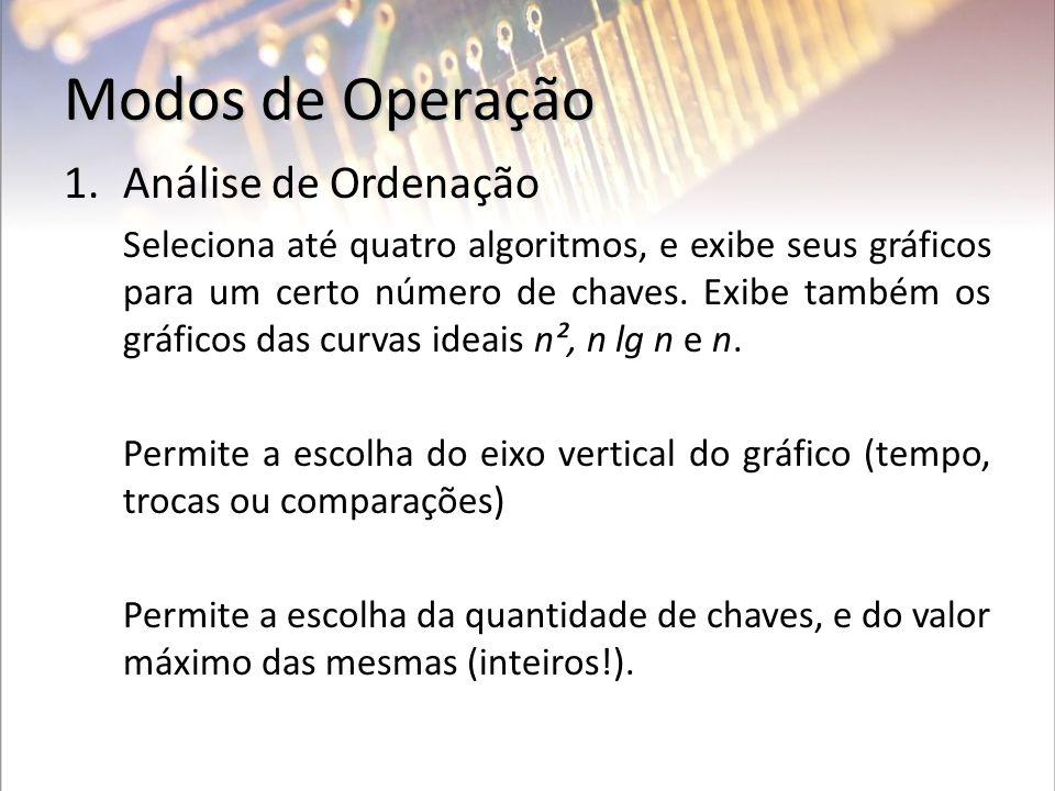 Modos de Operação 1.Análise de Ordenação Seleciona até quatro algoritmos, e exibe seus gráficos para um certo número de chaves. Exibe também os gráfic