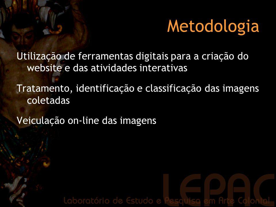 Metodologia Utilização de ferramentas digitais para a criação do website e das atividades interativas Tratamento, identificação e classificação das im
