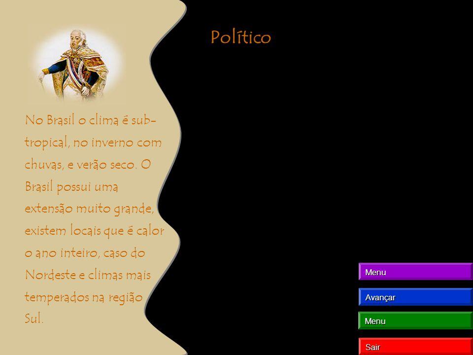 Político No Brasil o clima é sub- tropical, no inverno com chuvas, e verão seco. O Brasil possui uma extensão muito grande, existem locais que é calor