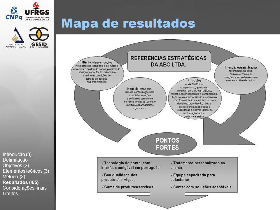 16 Mapa de resultados Introdução (3) Delimitação Objetivos (2) Elementos teóricos (3) Método (2) Resultados (4/5) Considerações finais Limites