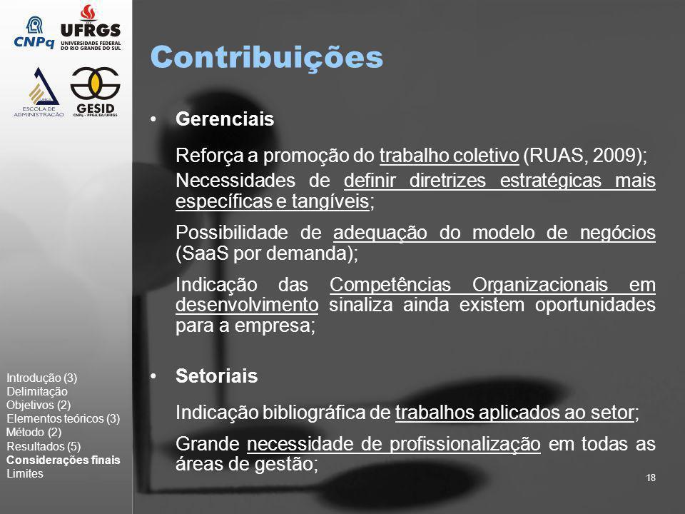 18 Contribuições Gerenciais Reforça a promoção do trabalho coletivo (RUAS, 2009); Necessidades de definir diretrizes estratégicas mais específicas e t