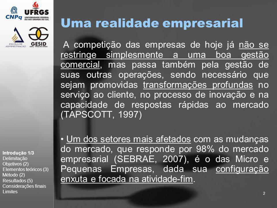 2 Uma realidade empresarial A competição das empresas de hoje já não se restringe simplesmente a uma boa gestão comercial, mas passa também pela gestã