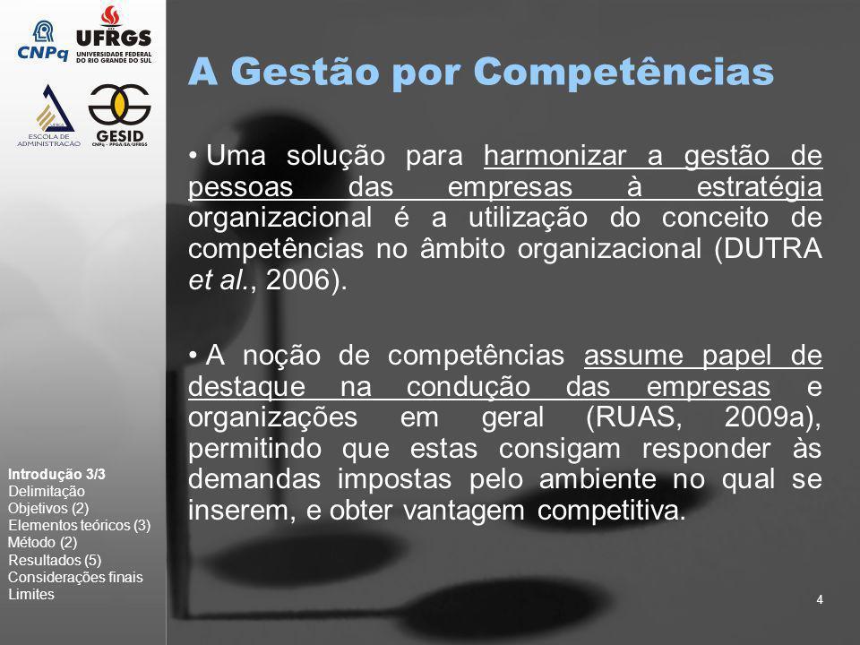 4 A Gestão por Competências Uma solução para harmonizar a gestão de pessoas das empresas à estratégia organizacional é a utilização do conceito de com